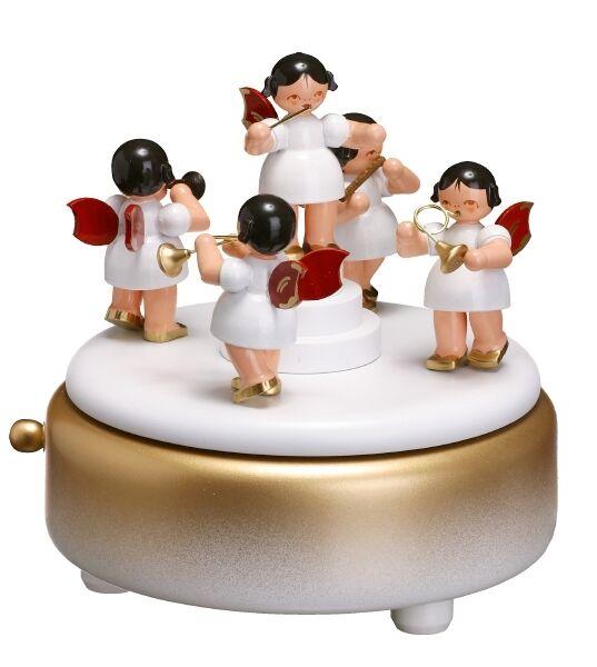 Boîte à musique blanc ange 13,5 13,5 ange cm carillon NEUF Seiffen Noël dose de jeu 6c2f94