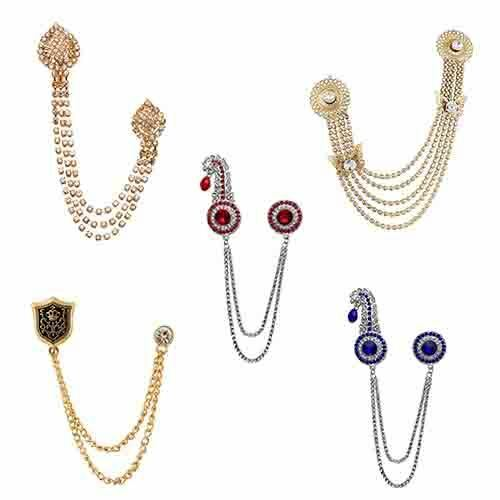 Trendy Brooch Unisex Accessories Chain Lapel Collar Suit Elegant Formal Brooch