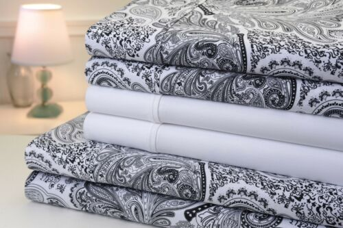 Bibb Paisley 1200 Thread Count Cotton Rich 6 Piece Bed Sheet Set 8 Colors