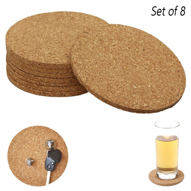 8 Pack Cork Coasters Absorbent Cup Round Cafe Bar Home Drink Beverage DIY Crafts