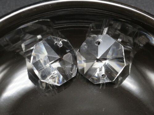 25 Clear Crystal Octagon Bead Connector 16mm 2 Hole Prisms Chandelier Chain Part