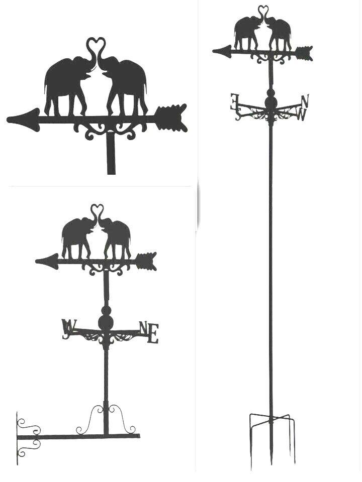 Metal Weather Vane Wind Wheel Garden Stake British Elephant new Ornament decor