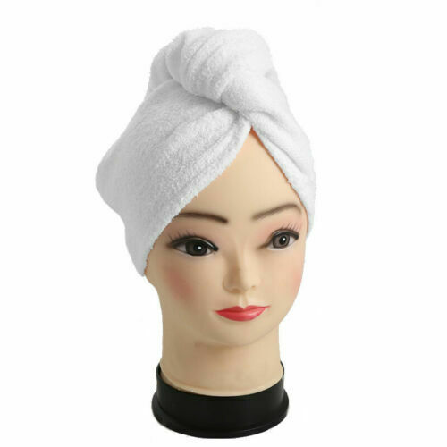 Luxury 100% Cotton Turban Towel White Hair Drying Cap Towel with Button and Loop
