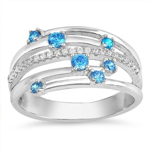 Sizes 4-10 NEW Sterling Silver Rings with Blue Topaz Cubic Zirconia