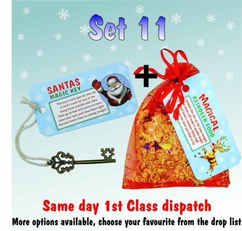 SANTA MAGIC KEY and MAGIC REINDEER FOOD bag Kids Christmas Eve box Fillers k