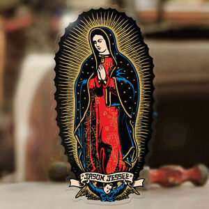 Santa-Cruz-Sticker-Virgin-de-Guadeloupe-Maria-Hot-Rod-Surf-Skate-Tattoo-90mm
