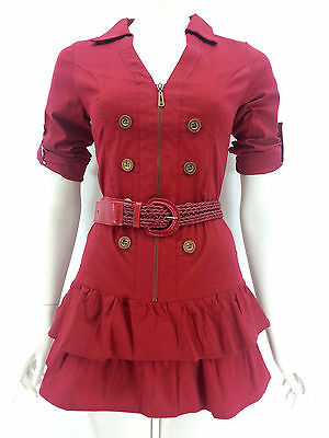 TRENDY ZONE Red 3/4 Sleeve Zip Up Collar Layer Hem Dress With Belt Sizes S M L