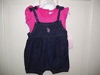 Denim Bubble 2-piece Playsuit W/pink Body Suit By U.s. Polo Assn., 3-6 Mos,