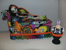 Monster High Furniture Day of Dead Chaise Lounge Bed, table + Lamp for Skelita