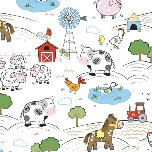 Fabric Baby Playful Cuties Barnyard on White Flannel by the 1//4 yard