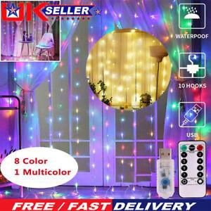 8 Modes Christmas LED Fairy String Curtain Window Lights IP65 Xmas Party Decor