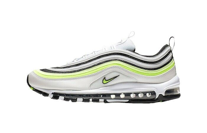 Men's Nike 97's in White with Black and Lime details ontop - size 10 UK