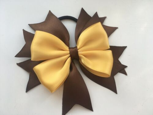 Girls Brown /& Yellow Brownies Hair Bow Bobble School Uniform Dance Bow FREE POST