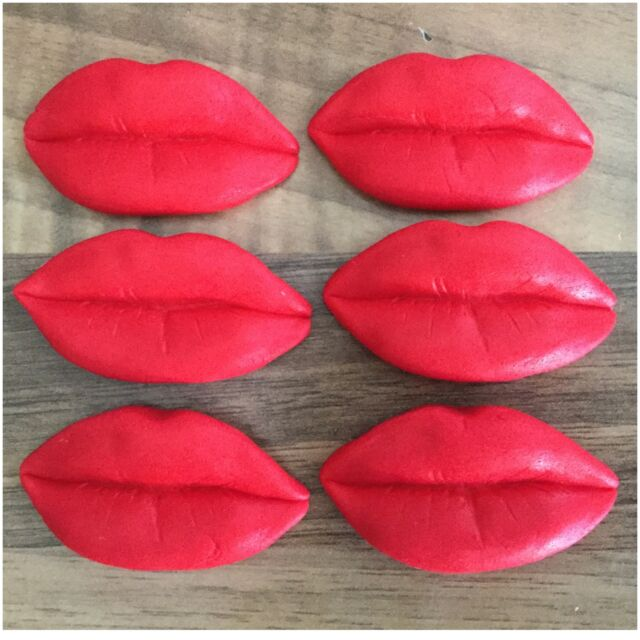 6 Large Lips Edible Red Valentines Day Sugar Cake Toppers Decorations Hen Party