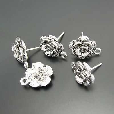 03691 Antiqued Silvery Vintage Alloy Flower Earring Stud Connector Charms 36PCS