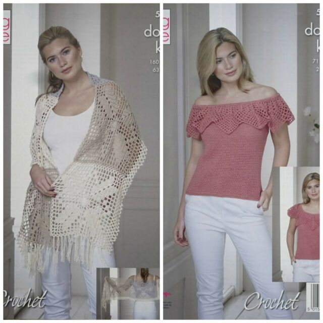 King Cole 5116 Crochet Pattern Womens Wrap And Top In Finesse Cotton