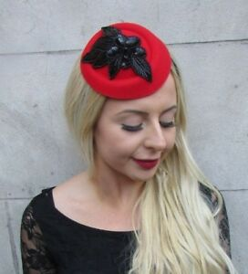 Red and Black Sequin Pillbox Hat Hair Fascinator Races Wedding ... 0547a4524fe