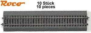 Roco-H0-42510-S-Gerades-Gleis-G1-mit-Bettung-Laenge-230-mm-10-Stueck-NEU
