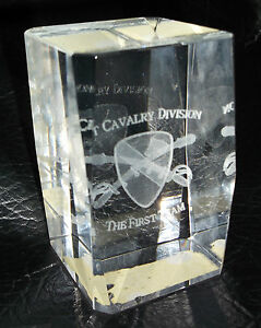 "Army ""1st. Cavalry Division"" The First Team 3D Laser Etched Crystal Paperweight"