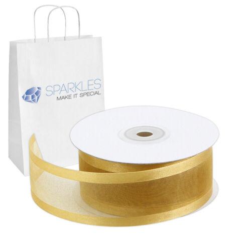 """Satin Edging Solid Reels uf Organza Ribbon 1.5/"""" Wide 25 Yd Yard Roll Gold"""