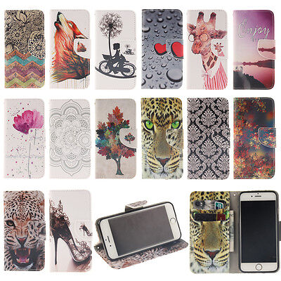 TX New Printed Magnetic Wallet PU Leather Card Flip Stand Lot Case Cover For