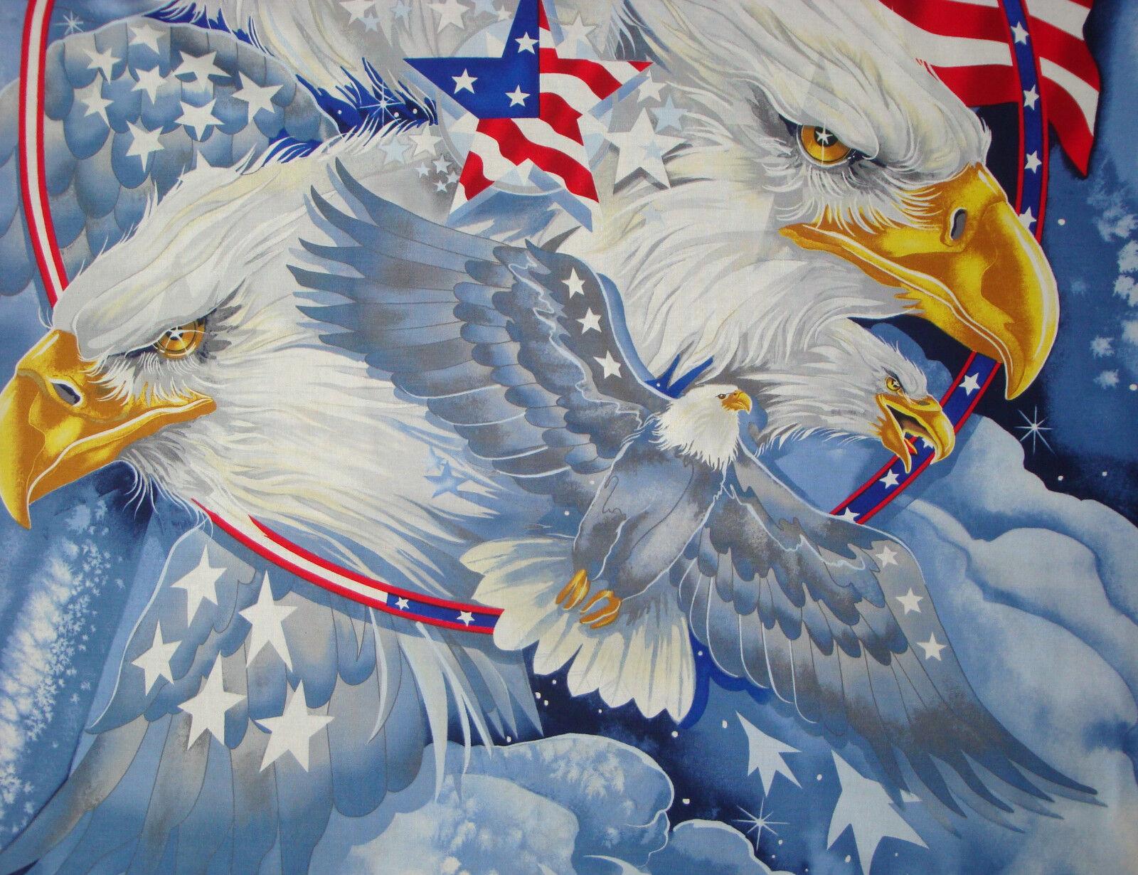 1-yd Eagle Fabric Panel Print Concepts 9//11 Tribute Veteran Quilt of Valor QOV