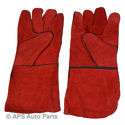 Welding Gloves Gauntlets Welder Pair Protective High Temperature 14""