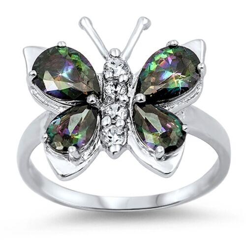 Mystic Topaz Papillon Véritable Argent Sterling Rhodium fini Ring