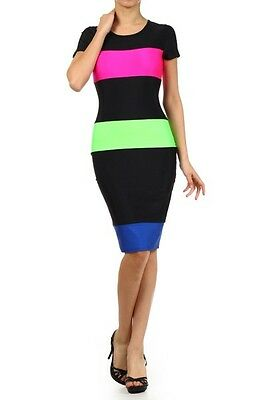 Women Neon Colorblock Stripe Short Sleeves Bodycon Slim Fitted Midi Dress USA