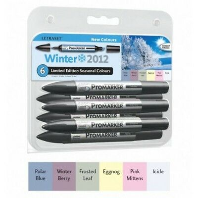 Letraset Promarkers - 6 Marker Set - Limited Edition 2012 - New Winter Colours
