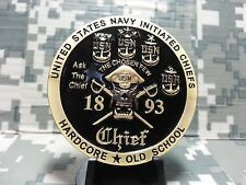 RARE USN NAVY CHIEFS CPO HARDCORE OLD SCHOOL INITIATED CHIEFS CHALLENGE COIN