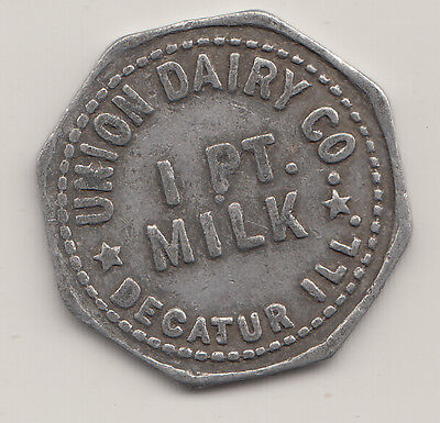 1 Pint Milk dairy maverick trade token small blank Decatur IL 1 Union Dairy Co