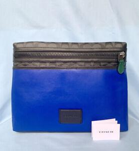 Coach-Men-039-s-Bag-C1299-QBS4S-Carrier-Crossbody-Colorblock-Sig-Canvas-and-Blue