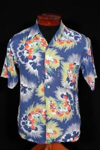 Sehr-seltene-1930-039-s-1940-039-S-Silky-Rayon-Blumendruck-Hawaii-Shirt-Groesse-Small