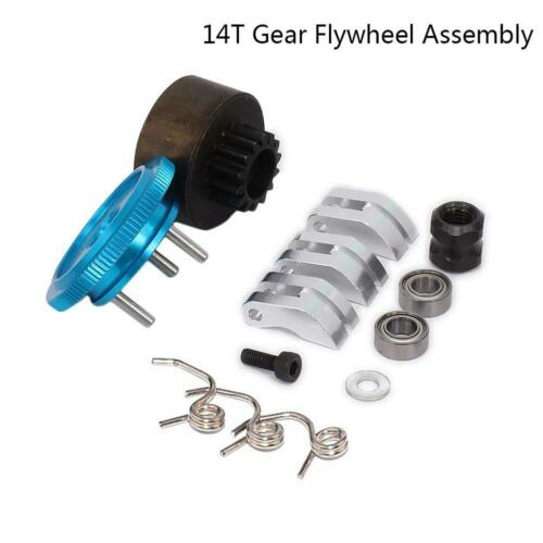 14T Gear Flywheel Assembly 1//8 RC Car Bearing Clutch Bell Shoes For 1//8 RC Car
