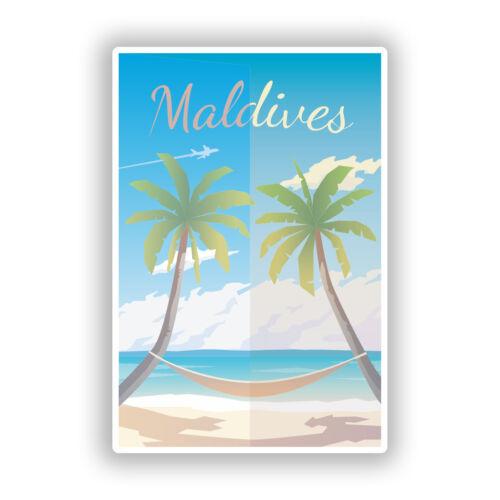 2 x Maldives Beach Vinyl Stickers Travel Luggage #10030