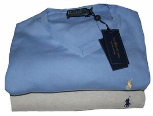 Ralph-Lauren-Pima-Cotton-V-Neck-Small-Pony-Pullover-Gr-1-2-3-5XB-in-2-Farben