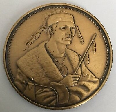 Coins & Paper Money Medals Amiable Native American Indian Chief Menoquet Potawatomi Tribe Coin Medal Pretty And Colorful