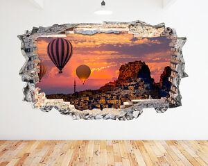 Wall STICKERS MONGOLFIERA SUNSET Turchia rotto Decalcomania 3D ARTE Vinile Camera N501  </span>