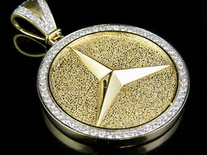 Mens 14k yellow gold mercedes medallion genuine diamond pendant 2 1 image is loading men 039 s 14k yellow gold mercedes medallion mozeypictures
