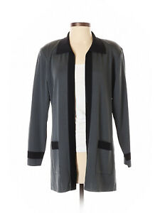 Women-Exclusively-Misook-Gray-Black-Open-Front-Cardigan-Size-S