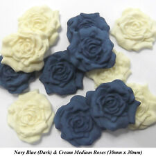NAVY BLUE ROSE BOUQUET Edible Sugar Flowers Cake Decorations