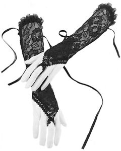 Dark-In-Love-Black-Lace-Gloves-Long-Sleeves-Gothic-Cross-Steampunk-VTG-Victorian