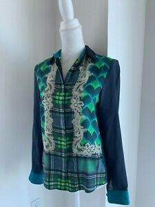 Emma-Cook-Navy-Blue-Green-amp-Multi-Print-Silk-Button-Down-Shirt-Blouse-UK-10-US-S