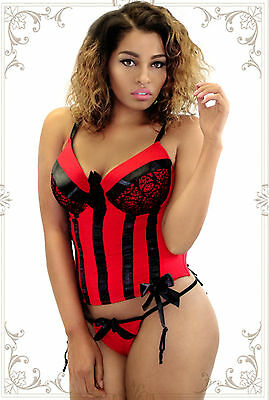 Intimates & Sleep Dashing Black Satin Lace Corset Garters Hook & Eye G-string Plus Size 1x 2x 3x 4x Jl132