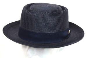 Men/'s Dress Casual Boater Hat Skimmer Sailor Barbershop Straw Navy Blue//White