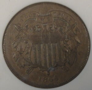 1864-Large-Motto-2-Cent-Piece-ANACS-Certified-AU58-Old-Small-Holder