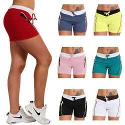 Leichte Sommer Shorts bunte Farben Streifen seitlich Hose farbiger Bund kurz