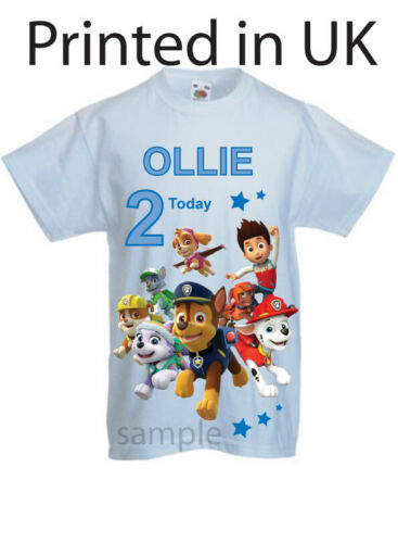 Birthday t-shirt with name and age Paw patrol Group childs t-shirt