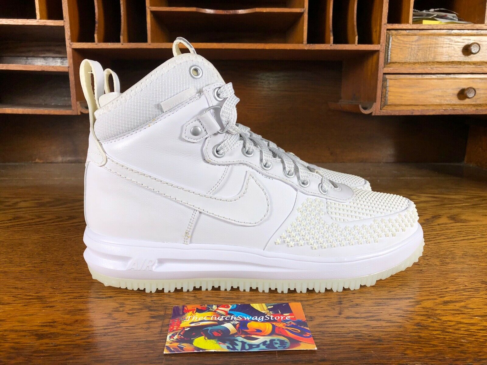 Nike Lunar Force 1 Duckboot Mens High Top Triple White Off White 805899-101 Sz 8